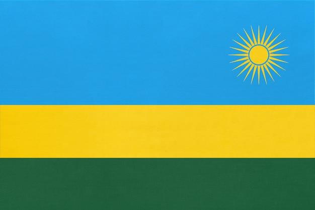 共和国ルワンダ国立生地旗繊維の背景。世界のアフリカの国の象徴。