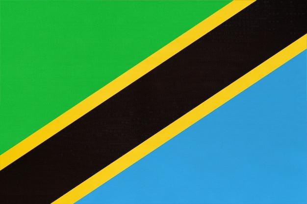 共和国タンザニア国立生地旗繊維の背景。世界のアフリカの国の象徴。