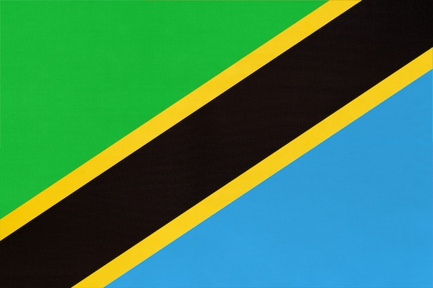 Republic tanzania national fabric flag textile background. symbol of world african country.