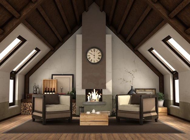 Rertro attic with fireplace with two armchairs