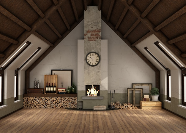 Rertro attic with old fireplace ,harwood floor and wooden ceiling