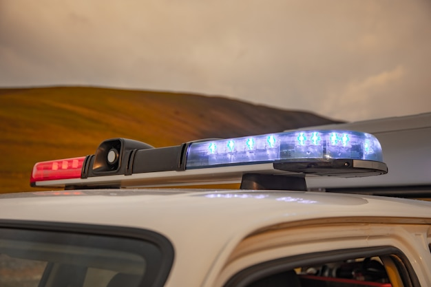 Rescue car lights in mountain