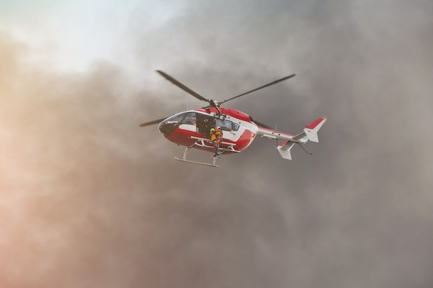 Rescue helicopter moving in mission rescue