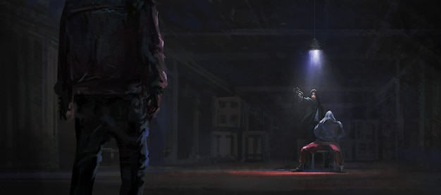 Rescue the kidnapped hostages in the warehouse, 3d illustration.