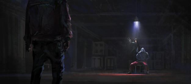 倉庫で誘拐された人質を救出する、3dイラスト。