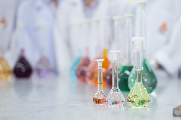 Research laboratory - glassware and equipment used in scientific work for chemical backgrounds
