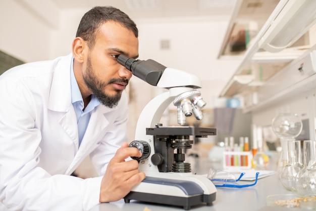 顕微鏡を扱う研究者