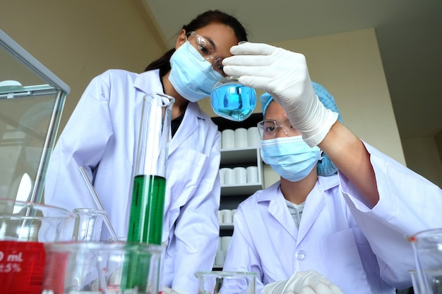 Researching in laboratory