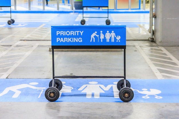 Reserved car parking sign on empty parking lot for family with children