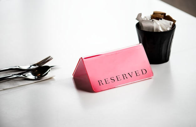 Reserved dining table