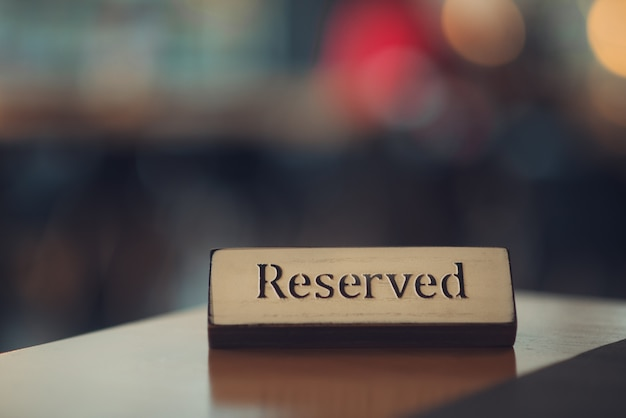 Reserved table in a restaurant