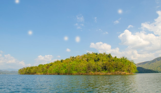Reservoir islands in tropical site, thailand