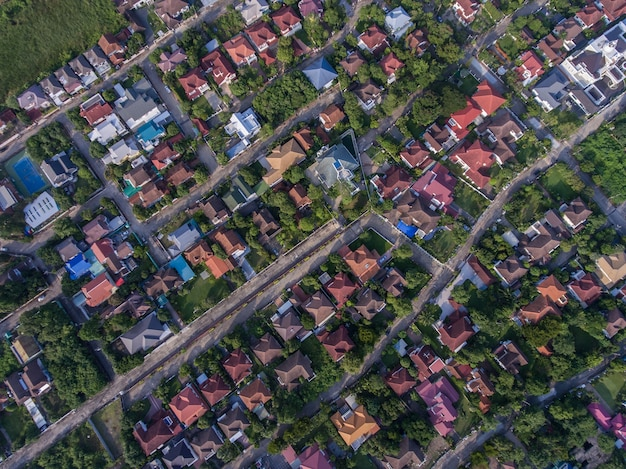 Residential area aerial view. real estate, land and property construction industry.