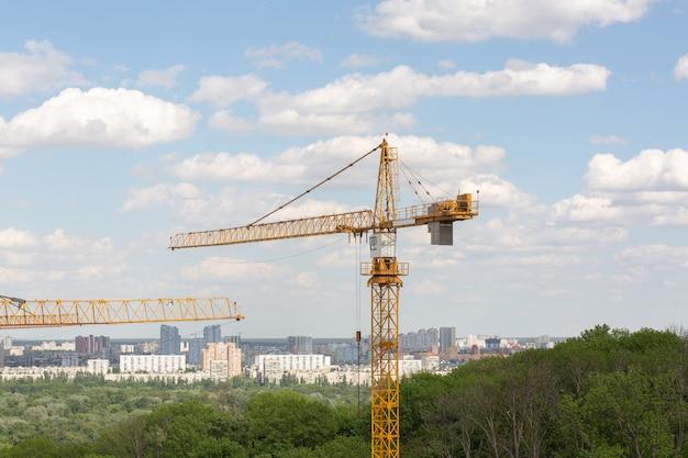 주거용 건물 개념: 공원 지역의 듀플렉스 건설 시 타워 크레인