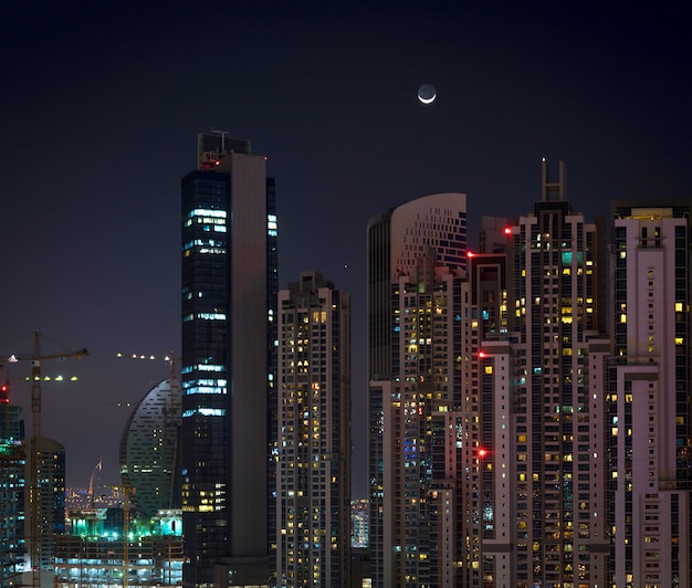 Residential buildings in dubai at night