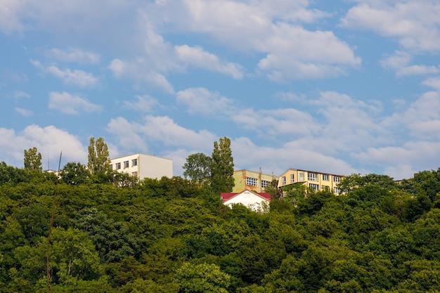 나무가 무성한 산속의 주거용 건물. 고품질 사진