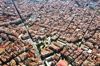 Residential district from helicopter. barcelona, catalonia