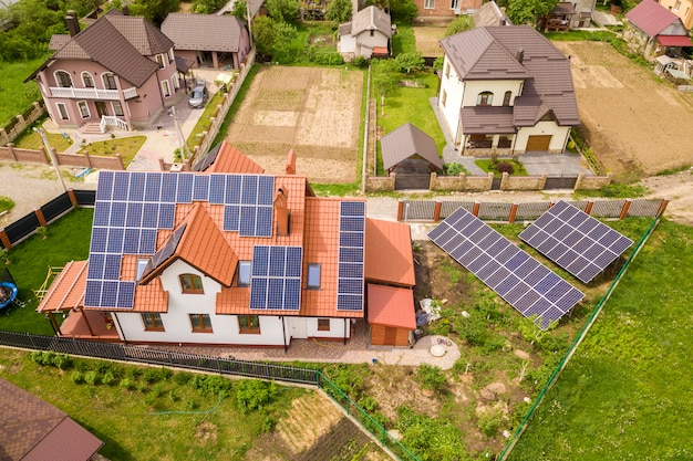 Residential house with solar panels on roof