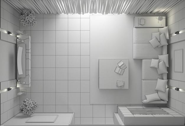 Визуализация жилого интерьера, 3d иллюстрация