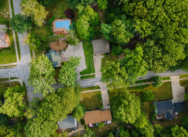 Residential sleeping area in street in the a small town in modern recreation area with above aerial view cleveland ohio usa