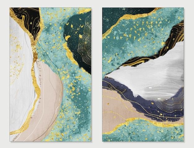 Resin geode and abstract art functional art like watercolor geode painting golden green and gray