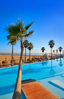 ヤシの木とビーチのリゾートインフィニティプール