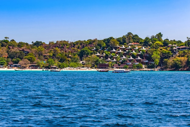 Resort on phi phi island when viewed from boat