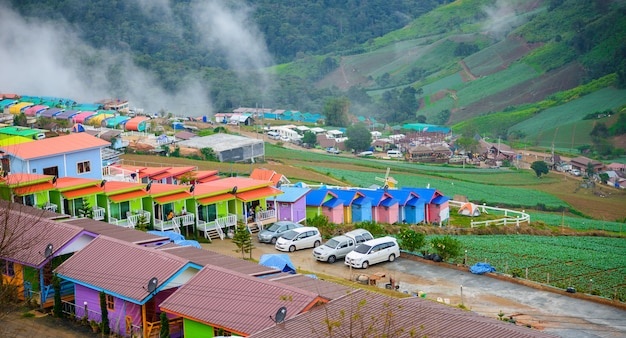 Resorts and lodges on the mountain with sunset at morning from view point ,phu thap boek