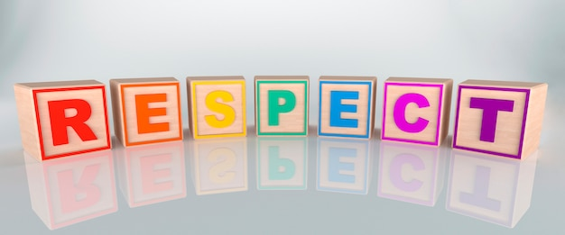 Respect word made with wooden cubes, in rainbow colors