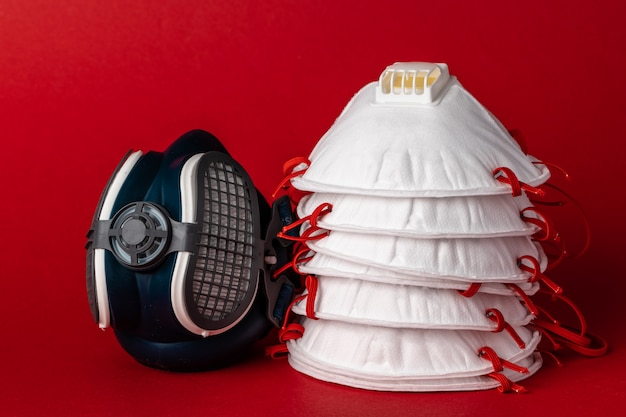 Respirator half mask with medical face mask. health protection concept