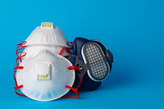Respirator half mask with medical protective face mask. health protection concept