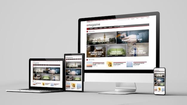 白い背景の3dレンダリングモックアップで分離されたレスポンシブデザインの電子雑誌のウェブサイトデバイス