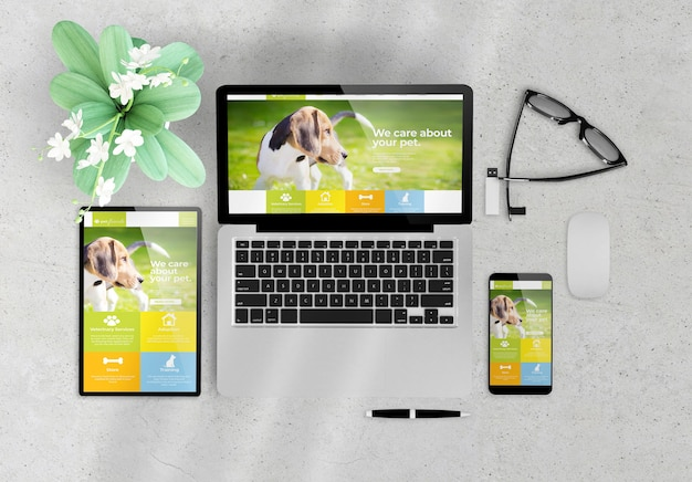 Responsive design pet website on devices top view wooden desktop 3d rendering