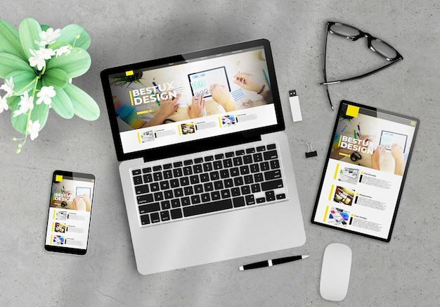 Responsive design ux website on devices top view wooden desktop 3d rendering