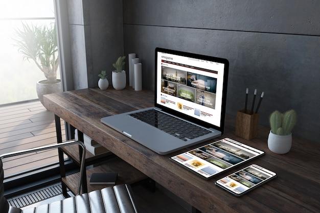雑誌のウェブサイトを表示する木製デスクトップ3dレンダリングのレスポンシブデバイス