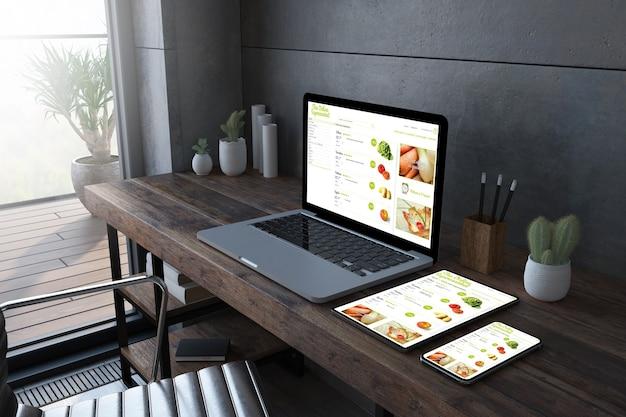オンラインスーパーマーケットのウェブサイトを表示する木製デスクトップ3dレンダリングのレスポンシブデバイス Premium写真