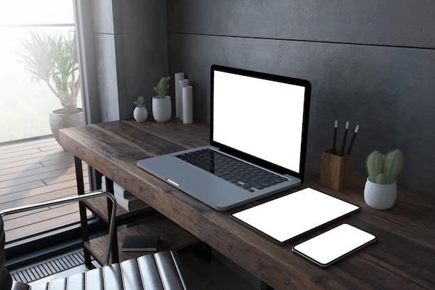 木製デスクトップの3dレンダリングでのレスポンシブデバイス