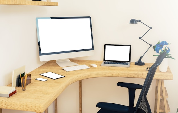 Responsive devices on corner desktop