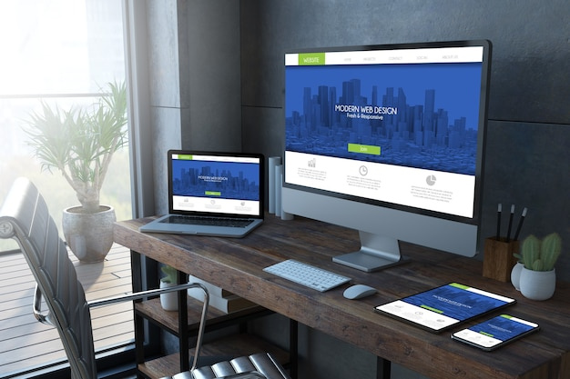 Responsive devices on a desktop 3d rendering mock up