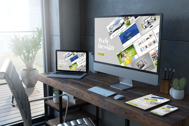 Responsive devices on a desktop 3d rendering showing website builder
