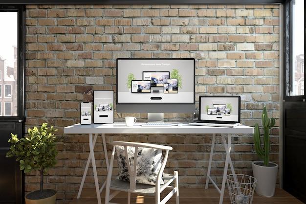 Responsive devices on a desktop showing web design 3d rendering