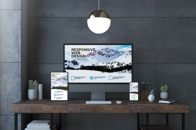 Responsive devices on elegant desktop with website 3d rendering
