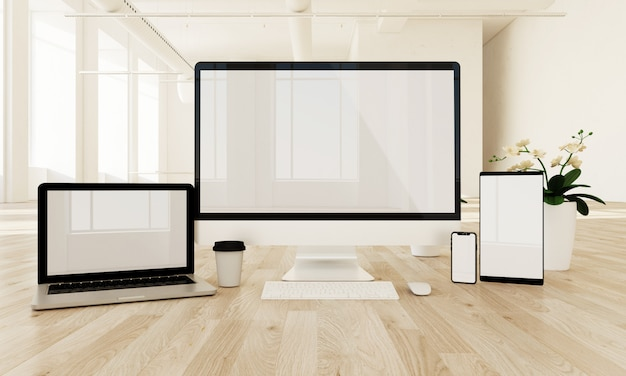 Responsive devices on the floor with white screen,
