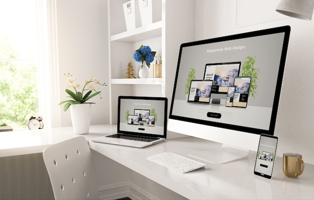 Responsive devices on home desktop showing web design website 3d rendering