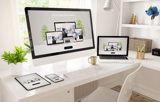 Responsive devices on home office setup 3d rendering