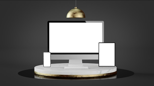 Responsive devices on luxury marble and gold platform 3d rendering