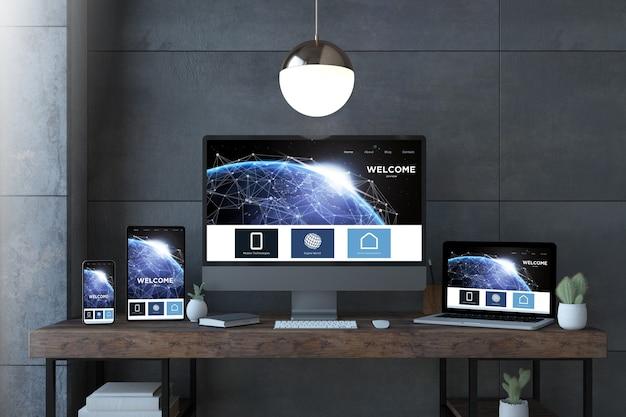 スペースウェブサイトの3dレンダリングを備えたエレガントなデスクトップ上のレスポンシブデバイス