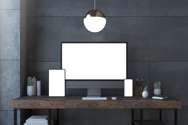 白い画面の3dレンダリングを備えたエレガントなデスクトップ上のレスポンシブデバイス