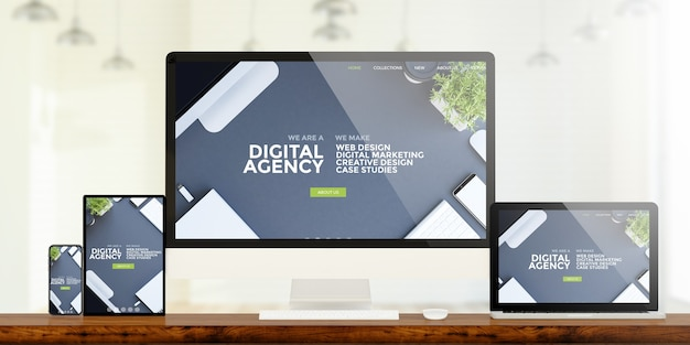 Responsive devices showing digital agency website 3d rendering