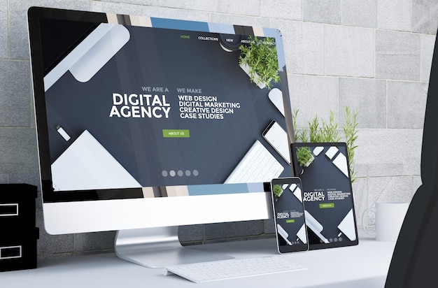 데스크탑 3d 렌더링에서 반응 형 디지털 에이전시 웹 사이트를 보여주는 반응 형 장치